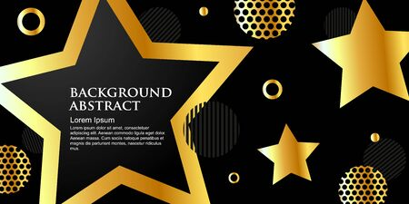 golden banner, shining star shapes on a black background. Template with place for text. Luxurious style. Vector illustration