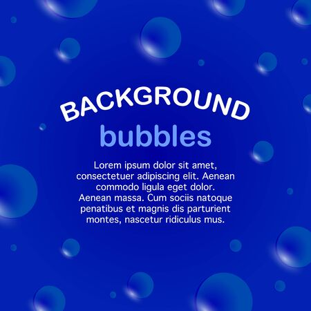 Square banner, soap bubbles on a blue background. Template for text. Vector illustration Illustration