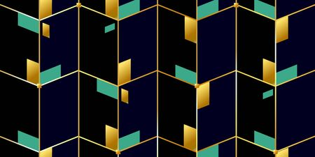 Abstract background of gold lines and geometric, polygonal shapes. gold and emerald rhombuses on a dark background. Vector illustration