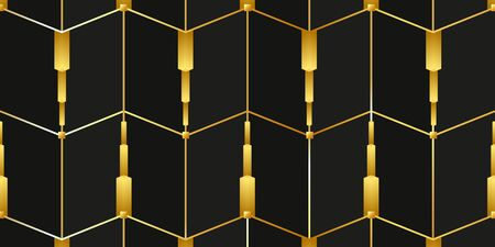 Modern background with golden lines on a black background. Vector illustration