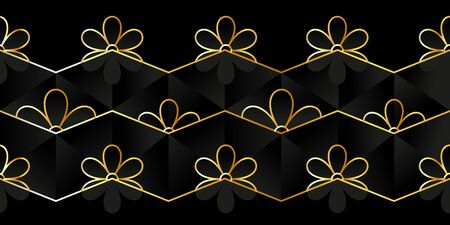 Modern geometric pattern with golden lines and stylized flowers on a black polygonal background. Stylish vector texture Illustration