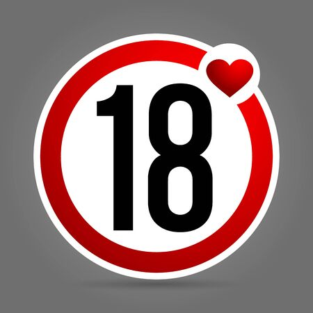 Age limit to 18 years. Round red and white sign Illustration