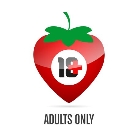 18 plus age limit sign in the shape of a red strawberry and the inscription Adults only on a white background. Isolated object