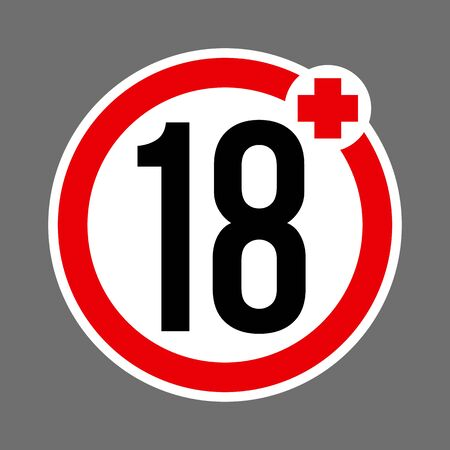 Age limit 18 plus round red and white sign. Round buttons with age restriction Illustration