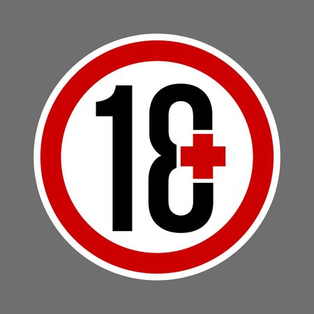 18 plus sign. Sign content for adults. Round buttons with age restriction