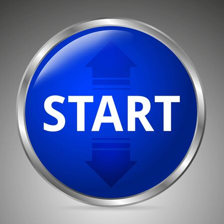 Big blue start button on a gray background. 3D style. Vector illustration