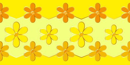 Beautiful background with yellow flowers and a gold outline. Vector illustration Illustration