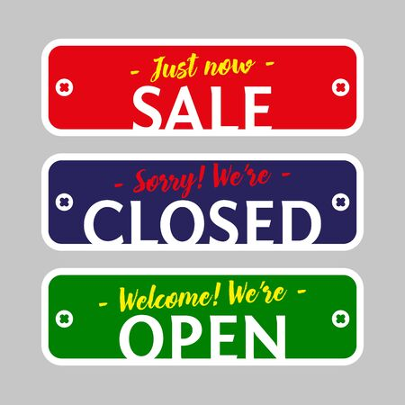 set of plates Sale, Closed, Open. Vector illustration