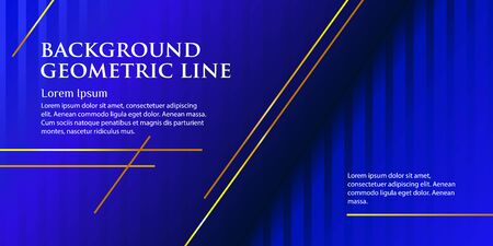 Abstract banner with golden lines on a classic blue background. Template with place for text. Luxurious style. Vector illustration