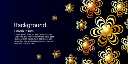 Abstract banner, golden flowers on a classic blue background. Template with place for text. Luxurious style. Vector illustration