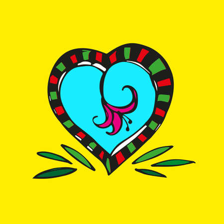 Decorative heart with a red flower inside on a yellow background. 向量圖像