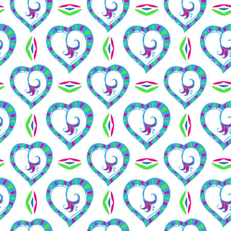 Multi colored hearts with a red flower inside on a white background. seamless patterns.