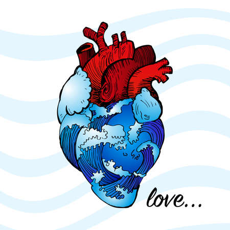 Anatomical heart with blue waves of water, cooling a hot heart and the inscription LOVE. Vettoriali