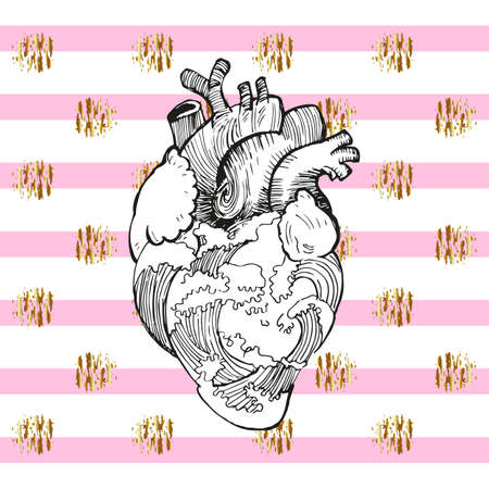 black white anatomical heart with waves of water, freehand drawing. background of pink stripes and golden decor elements.