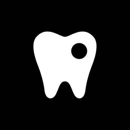 Symbol of a white tooth with a hole from caries on a black background.  イラスト・ベクター素材