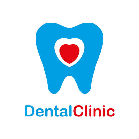 Dental clinic icon. Tooth abstract with red heart, template design. Dentist dentistry doctor icon concept
