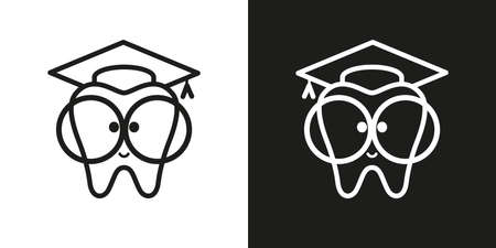 icon tooth with big glasses. Trowel, square academic cap, graduation hat.