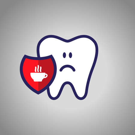 sad tooth, dentistry, oral hygiene. Red shield with the symbol of a bowl of tea or coffee. The concept of harm.  イラスト・ベクター素材