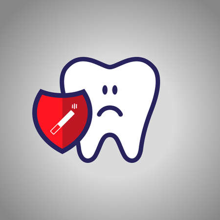 sad tooth, dentistry, oral hygiene. red shield with a cigarette symbol. The concept of harm to smoking.