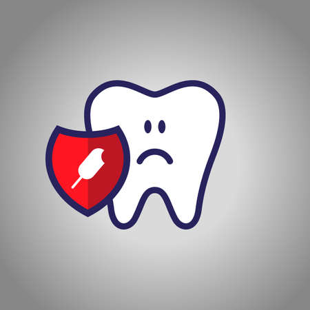 sad tooth, dentistry, oral hygiene. red shield with ice cream symbol. The concept of harm sweet.