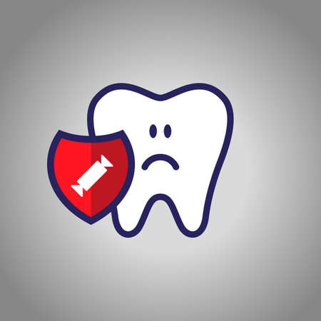 sad tooth, dentistry, oral hygiene. red shield with a candy cane symbol. The concept of harm sweet.