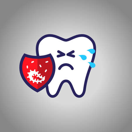 tooth crying for pain, dentistry, oral hygiene. red shield with caries symbol, microbes. The concept of harm.  イラスト・ベクター素材