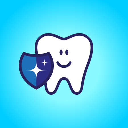 Protected tooth, healthy, white, happy tooth, dentistry, oral hygiene. Shield with a shiny symbol.