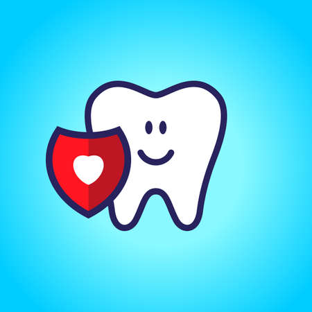 Protected tooth, healthy, white, happy tooth, dentistry, oral hygiene. Shield with a love symbol, heart.