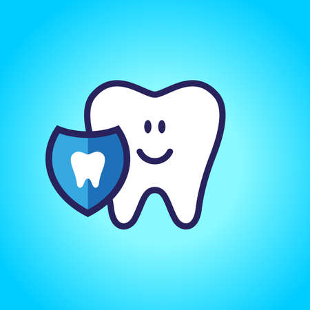 Protected tooth, healthy, white, happy tooth, dentistry, oral hygiene. Shield with a tooth symbol.