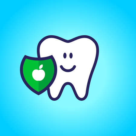 Protected tooth, healthy, white, happy tooth, dentistry, oral hygiene. Shield with an apple symbol.