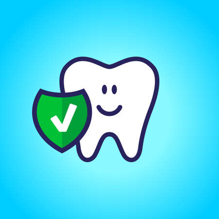 Protected tooth, healthy, white, happy tooth, dentistry, oral hygiene. Shield with a tick symbol.