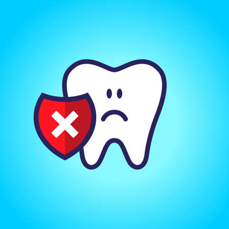 sad tooth, dentistry, oral hygiene. red shield with a cross mark.