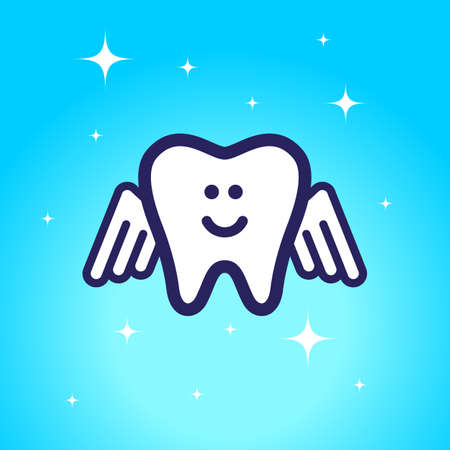 shiny tooth with angel wings on a blue background. concept of dentistry and oral hygiene.