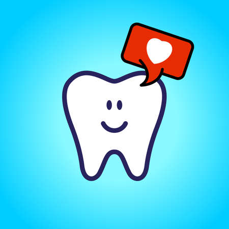 Protected tooth, healthy, white, happy tooth, dentistry, oral hygiene. speech bubble with a love symbol, heart.
