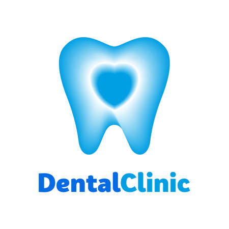 Dental clinic icon. Tooth abstract with heart, template design. Dentist Dentistry Doctor Icon Concept