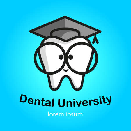 Educational icon. White tooth with big glasses. Trowel, square academic cap, graduation hat icon.  イラスト・ベクター素材