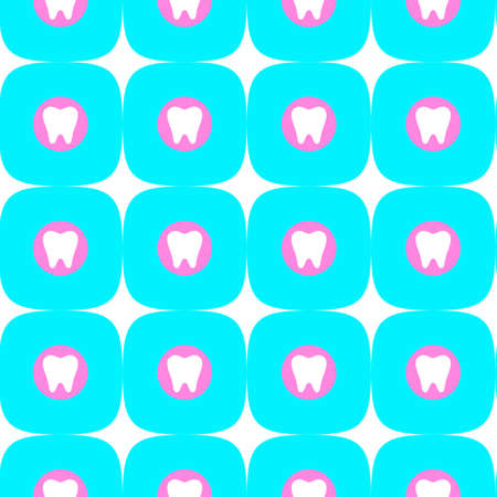 Seamless pattern with a white tooth in a pink circle on a blue background and with white stars. Dentistry concept.