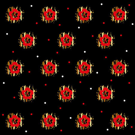 Floral background. Red flowers on a black background.