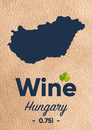New label for a wine bottle with a map of the manufacturer Hungary. Template for your modern design. Minimalism style. Illustration