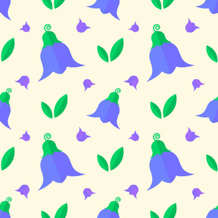 Seamless pattern with blue flowers, bell flowers and green leaves on a yellow background. Design for textile, poster, banner.