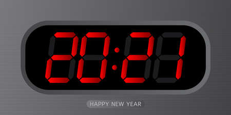 digital alarm clock with red numbers 2021 symbol of the new year.