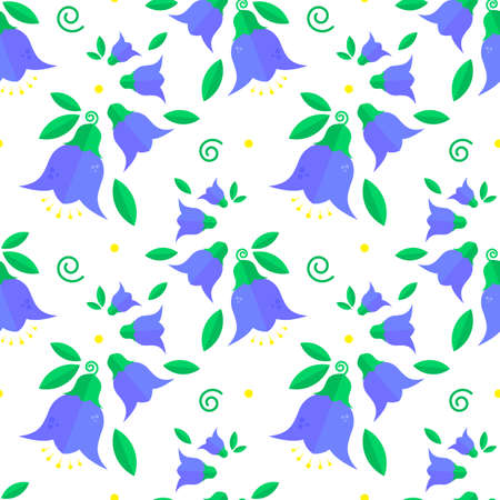 Patterns with blue flowers, bell flowers and green leaves on a white background. Seamless background. Design for textile, poster, banner. Ilustracja
