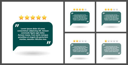 Set of blocks of quotes for statements or comments on a white background. Speech bubble templates with space for text and five stars, number of reviews.