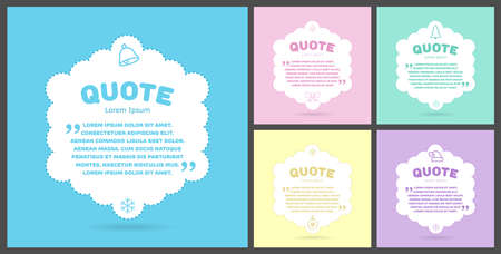 Christmas set of colored quote blocks for statements or comments on a white background. Speech bubble templates with space for text. Vector, illustration
