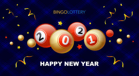 gold and red billiard balls with numbers 2021 on a blue background. Holiday concept and text Happy New Year. Vector Illustration
