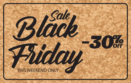 Black friday discount banner on brown background. textured cork wall. Holiday concept.