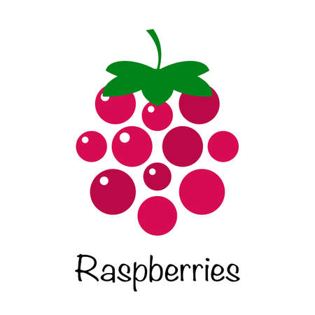Raspberry on a white background. Logo. Berry Vector Design. illustration