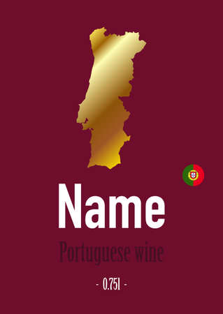 label, sticker for wine bottle, with map and flag symbol Portugal. Template for your modern design. Minimalism style. Vector illustration