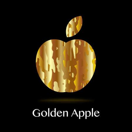 Golden apple on a black background. Vector illustration