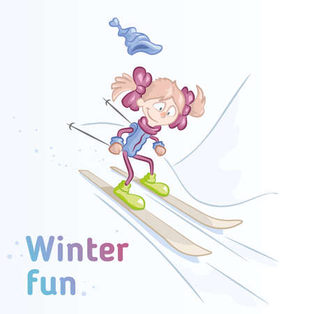 girl skiing on a winter slope. Vector illustration